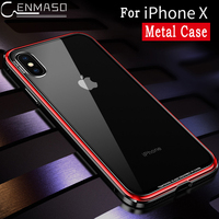 For IPhone X Case Cover New Luxury Metal Bumper Cover for IPhoneX Case Clear Mirror Transparent Glass Protect for IPhone X Cover
