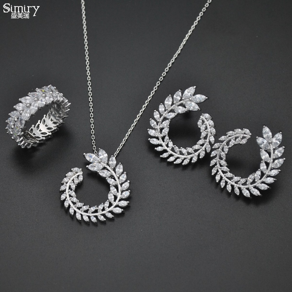 SIMIRY New Wedding Jewelry Sets Luxury CZ Olive Branch Leaf Shaped Necklace Earring Ring Set Gifts