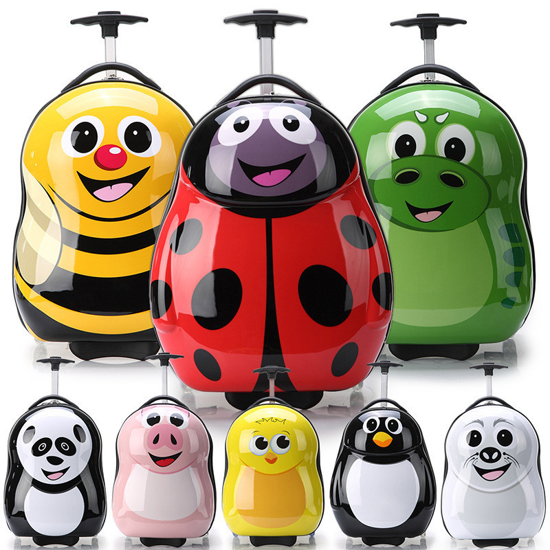 ABS+PC Cartoons Pattern Children Luggage Luggage For Kids 3D Bee Penguin Chick Pig Puppy  chifres malevola png