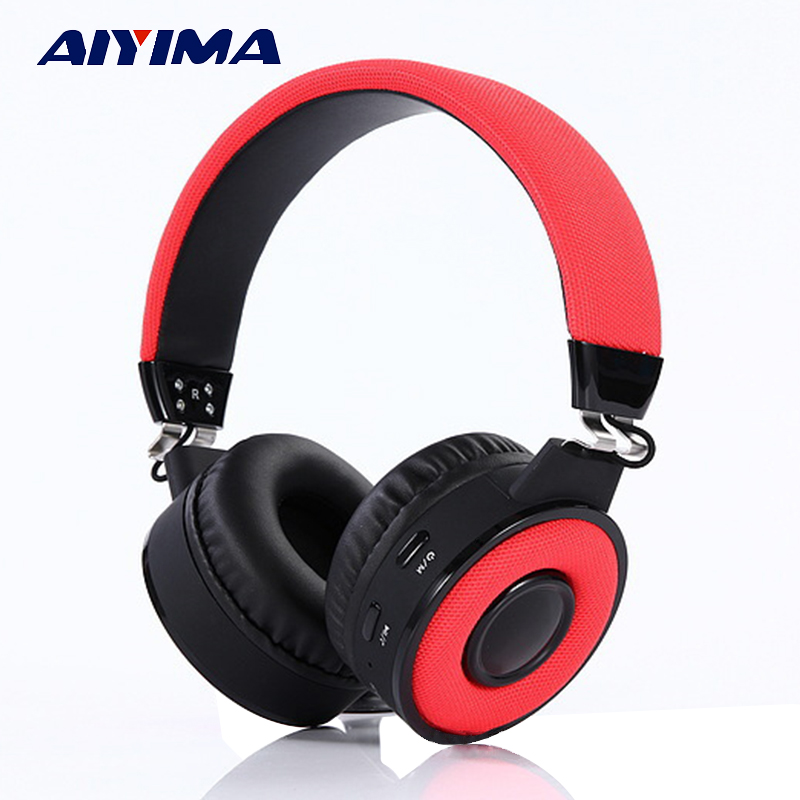 AIYIMA Bluetooth Headphones Earphone Audifonos Bluetooth Gaming Headset BT018 With TF Card FM Hifi Stereo Headset aiyima headphones gaming headset 3 5mm foldable sport earphone audifonos hifi stereo sound music portable earphone