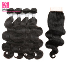 DreamDiana Brazilian Bodywave Bundles With Closure 4 Bundles With Closure Tissage Bresiliens Avec Closure Remy Hair With Closure(China)