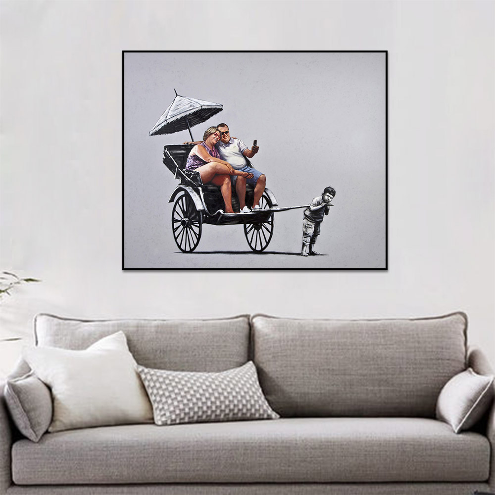 Unframed Canvas Prints Art Painting Banksy Satire People In A Rickshaw Prints Wall Pictures For Living Room Wall Art Decoration