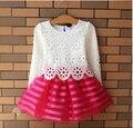 3-8 Year Girls Dress Infant Girls Tutu Crochet Lace Dress Long Sleeve Princess Dress Spring Autumn Girls Clothes