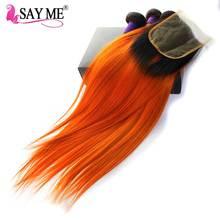 hot deal buy 1b/orange malaysian hair bundles with closure straight hair bundles with closure remy ombre human hair bundles with closure 4pcs