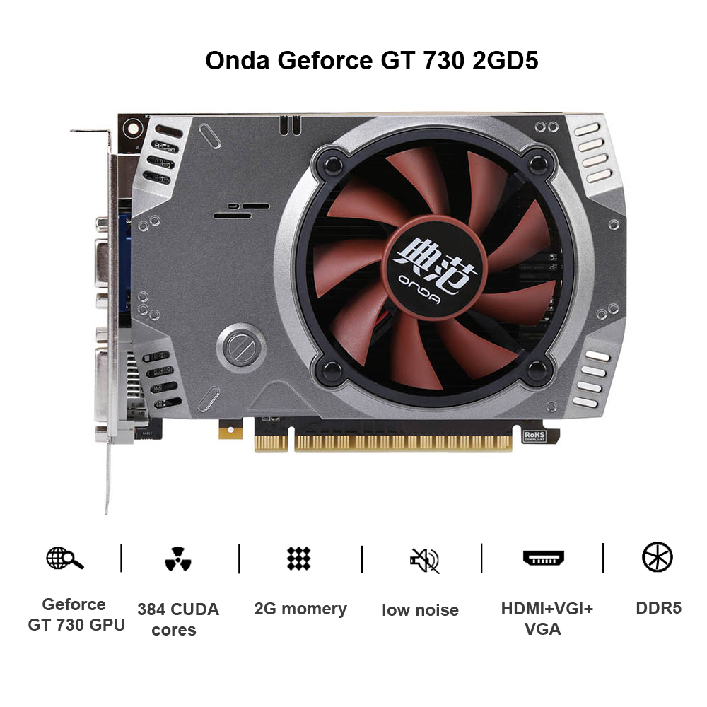 Onda NVIDIA GeForce GT 730 GPU 2 ГБ 64bit 2048 МБ игровой DDR5 pci-e 2.0 Видео Графика карты DVI + HDMI + VGA Порты и разъёмы с один вентилятор охлаждения