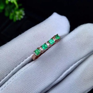 Image 3 - natural green emerald gemstone ring in 925 sterling silver fine jewelry for women ,Real emerald Ring with box