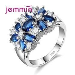 Grau superior 925 prata esterlina marca jóias novo à moda sparkly flor cristal anel feminino casamento anéis de noiva 5 cor