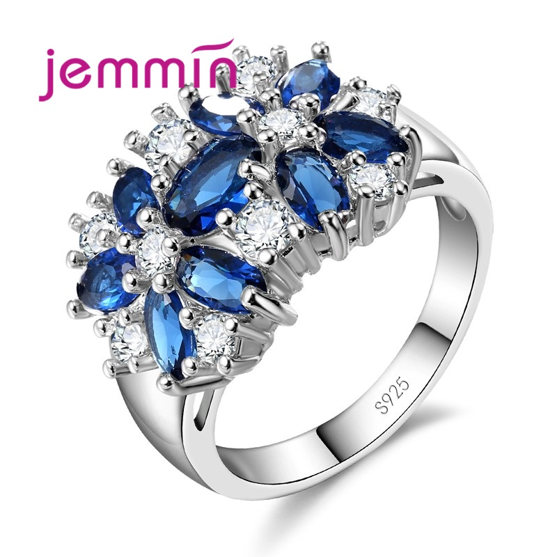 Top Grade 925 Sterling Silver Brand Jewelry New Stylish Sparkly Flower Crystal Ring Women Wedding Bridal Rings 5 Color