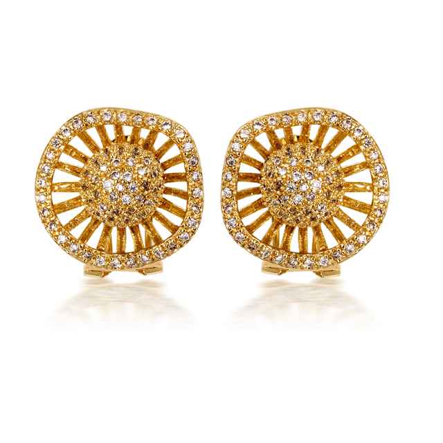 Happy Wheels Designs Women's Cubic Zircon Wedding Party Earrings Deluxe Allergy Free Low Cadmium No Lead Copper  Gold Plated