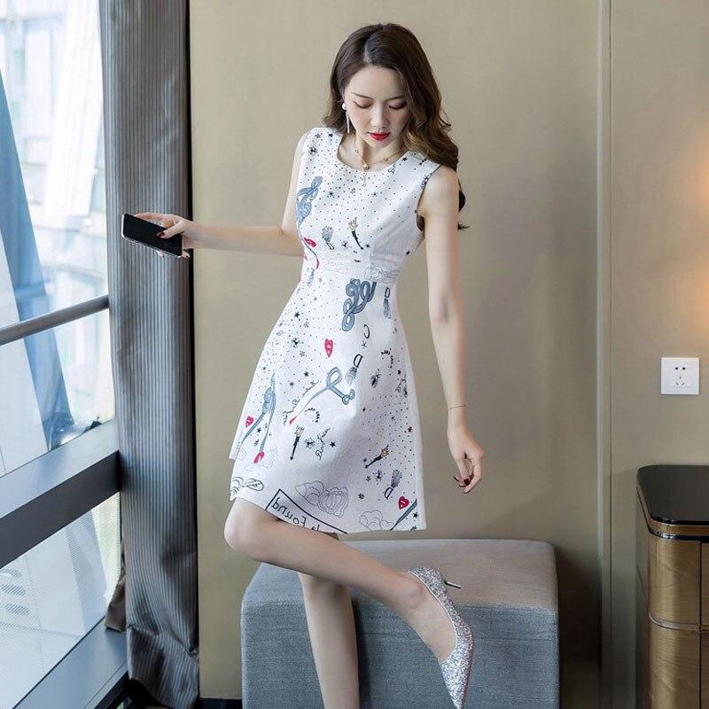 2019 Summer Korean Print Floral Dress Women Sleeveless A Line White Casual Dress Women Mini Bodycon Dresses Ladies Vestidos in Dresses from Women 39 s Clothing