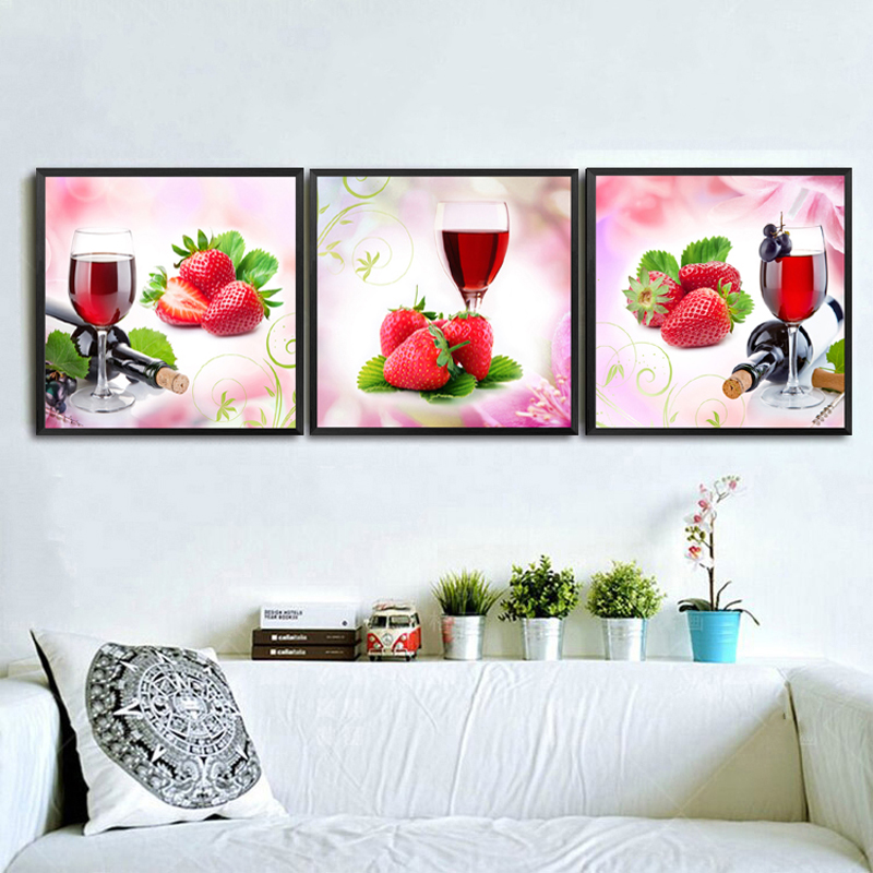 2017 Wall Art Fruit Grape Red Wine Glass Picture Art For: Modern Fruit Strawberry Wall Decor Painting For Wedding