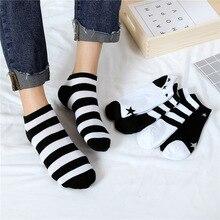 цена на 5Pairs Women's Short Socks Solid Stripe Star Female Low Cut Ankle Sock Summer Spring Girl Cotton Invisible Non-slip Low Sock