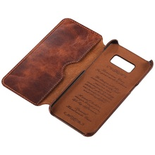 Solque Genuine Leather Flip Case For Samsung Galaxy S8 S9 S10 Plus S 8 9 10 Cell Phone Luxury Retro Leather Wallet Cover Case