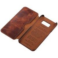 Solque için hakiki deri Flip Case Samsung Galaxy S8 S9 artı S 8 9 cep telefonu lüks Retro deri cüzdan kapak kılıf