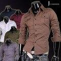 Nueva moda del Mens del algodón diseñador Cross Line Dress Slim Fit hombre camisas Tops Casual Western 7 colores 5 tamaños 8001