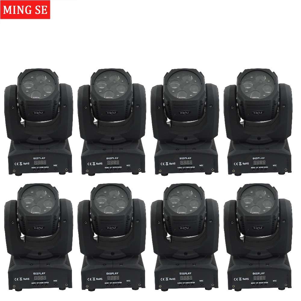 8pcs/lots Mini 4X10W Super Beam Moving Head Lights 60W High Brightness LED Beam Lights Perfect For DJ Disco Party Wedding Shows super brightness 4x10w rgbw led mini beam moving head dj light led wash disco lighting led display dmx dj equipment for party