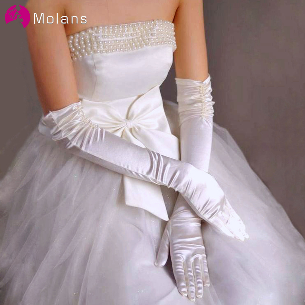 MOLANS Bridal Wedding Accessories Stretch Satin Gloves For Bride Dress Wedding Woman Solid Color Long Dance Party Gloves
