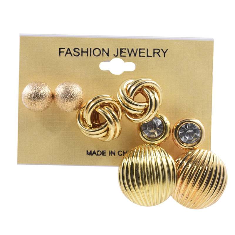 YANG & RH 3Pairs / lot Punk fülbevaló szett arany klasszikus labda fülbevaló szett divat lányok ajándék divat ékszer kiegészítők