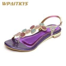 Купить с кэшбэком 2018 Rhinestone Women's Sandals Purple Golden Two Colors Available Sweet Buckles Leather Low-heeled Crystal Shoes Women Wedding