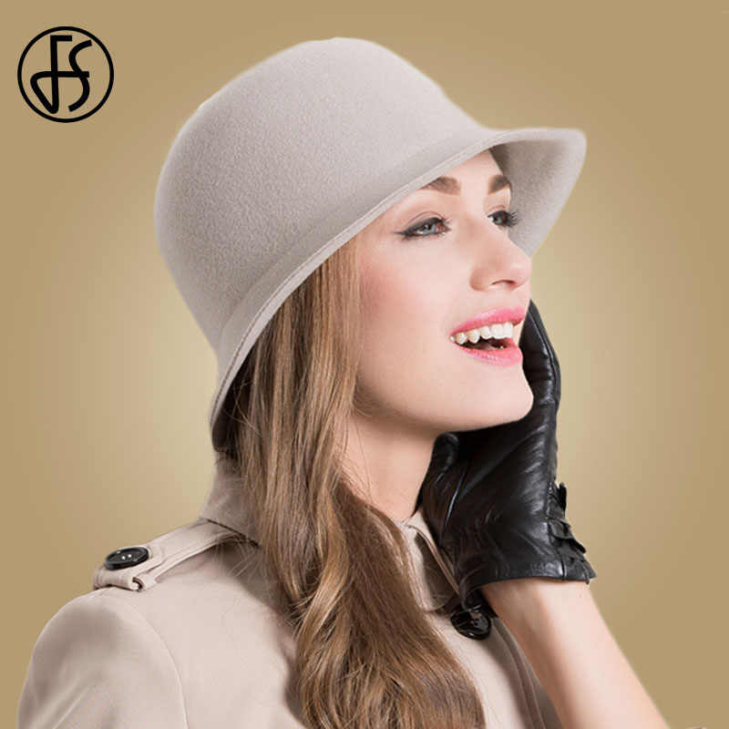 FS Wide Brim 100% Wool Felt Fedora Hats For Women Gray Rose Vintage Winter  Ladies bf879db510c5