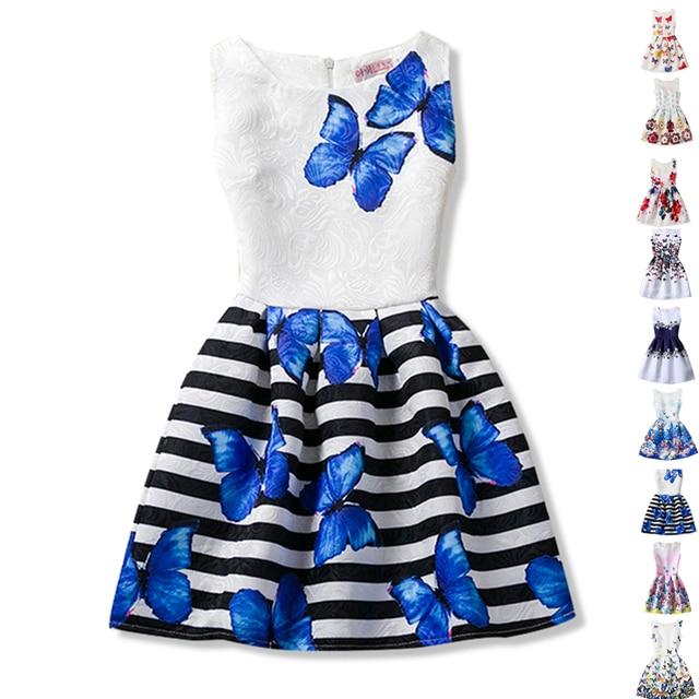 Baby Girls Dresses Flower Floral Print Kids Party Dress Teenage Girl