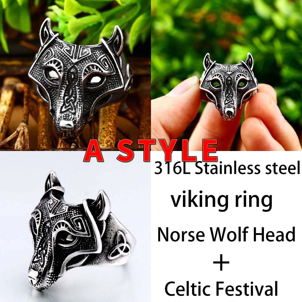 Beier 316L Stainless Steel Norse Viking Nordic wolf Head men Amulet  Odin 's Symbol rune wholesale ring fashion jewelry LR534 1