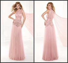 Vestido De Festa longo 2015 New Arrival prom dresses Queen Gorgeous Top Elegant Asymmetrical Strap Gown Bead Pink Evening Dress