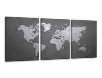 3 Panels Vintage World Map Gray Background Wall Art Painting Pictures Print On Canvas Art The Picture for Home Modern Decoration