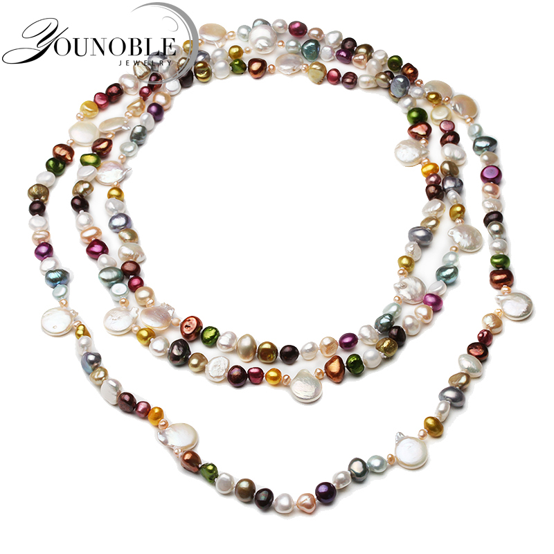 160cm Real Natural Freshwater Pearl Long Necklace Women Wedding Colorful Beach Summer Pearl Necklace in Necklaces from Jewelry Accessories