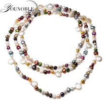 160cm Real Natural Freshwater Pearl Long Necklace Women,Wedding Colorful Beach Summer