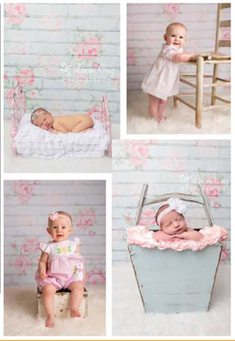 Simple Flowers Printed on Light Blue Brick Wall Photography Background Newborn Baby Photo Backdrops Kids Photo Props for Studio vinyl floral flower newborn backdrops cartoon unicorn photography background studio photo props 5x3ft