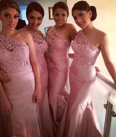 Charming Peach Bridesmaid Gown Dress Custom Made One Shoulder Bridesmaid Dresses for Wedding Party