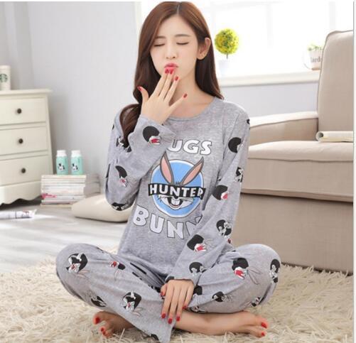 Neues Angebot WAVMIT 2017 Frühling Pyjamas Frauen Karton Niedlich Pijama Muster Pyjama Set Dünne Pijamas Mujer Nachtwäsche 90 S Großhandel