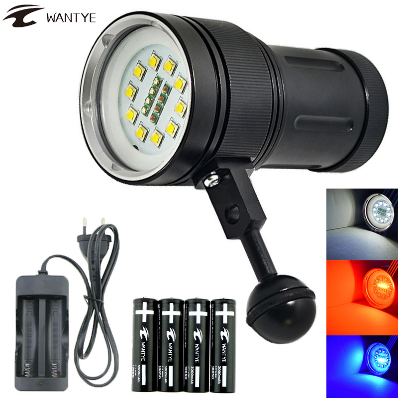 High Quality 10*XML L2+White Red UV Light LED Underwater Flashlight Photography Video Diving flashlight lamp Scuba Diving light d32vr underwater scuba diving video flashlight 2 cree leds blue light 2xcree xml u2 led white light 32650 battery charger