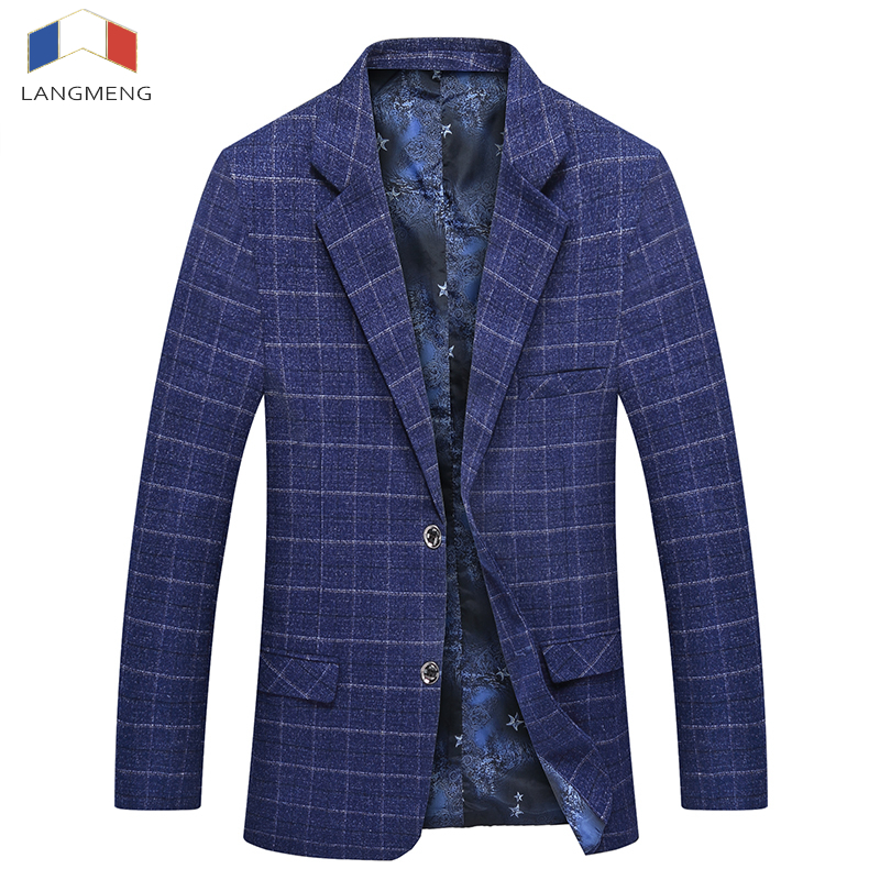 Langmeng 2017 Suit Jackets Hot Men Dark Blue Plaid Men Blazer Slim Fit Double Breasted Suit Fashion Jackets