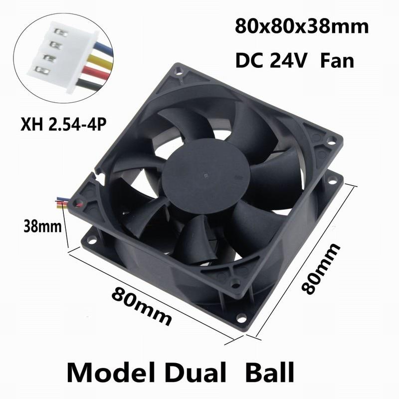 2 Pcs Gdstime 24V Two Ball Bearing PC DC Cooling Fan 80x80x38mm 4Pin 4 Wires 8038 8cm Brushless Cooler Fan 80mm 24 Volt delta ffb0824vhe 8038 dc 80 80 38mm dc 24v 0 25a 4200rpm 57 21cfm cooling fan