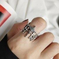 Ретро 100% Аутентичные S925 стерлингового серебра Глянцевая Иисус крест Открытые Кольца указательный палец кольцо Леди религия J203