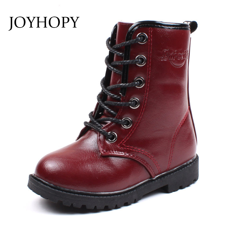 New Thick Winter Kids Combat Boots Girls Boys Plush Boots Girls Autumn High Boots Children Winter Snow Shoes size 27-36 Сапоги