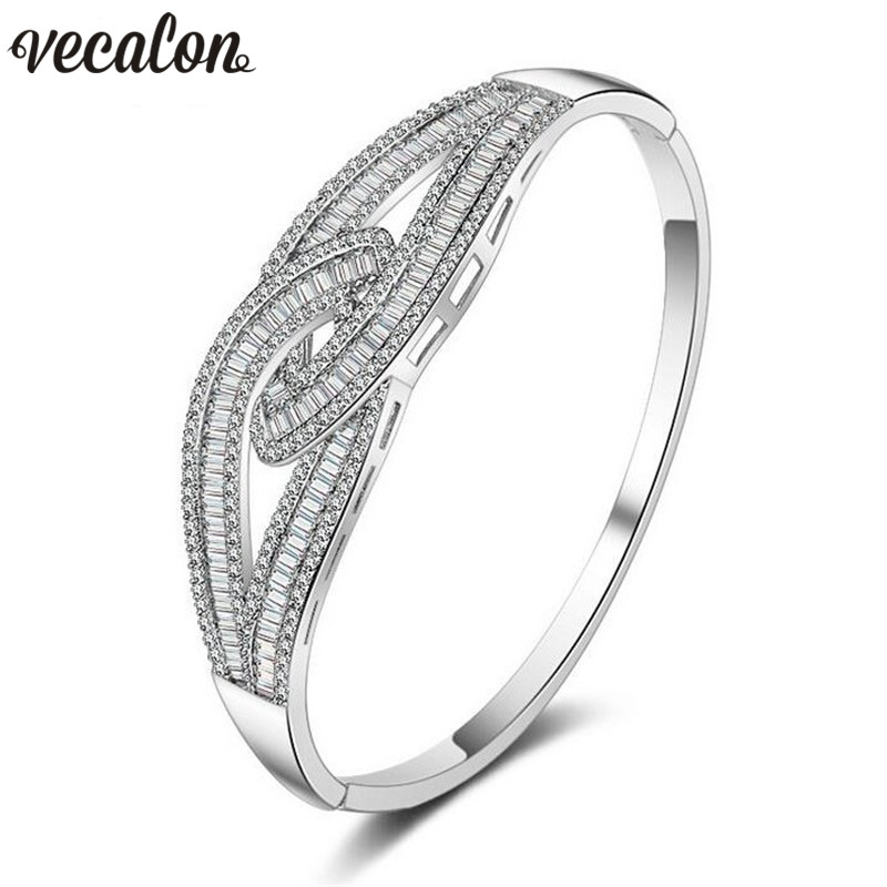 Vecalon Career Cross style Bracelet 5A Zircon Cz White Gold Filled wedding bangle for women Bridal accessaries Jewelry