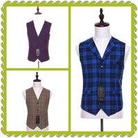 Suit Ma3 Jia3 New Men Suit Vest Plaid Fabrics Cotton Casual Wedding Tuxedo Formal Business Suits