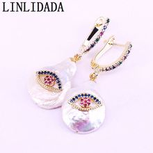 5Pairs New Fashion Nature Freshwater Pearl with CZ micro Pave gold dangle earring for women
