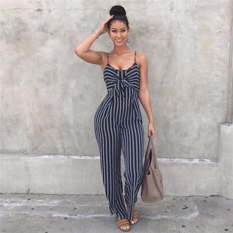 New 2018 Striped Jumpsuit Summer Plus Size Elegant Women Loose Wide Leg Pants Jumpsuits Womens   Rompers