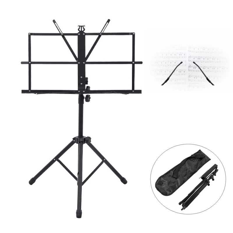 Folding Music Instrument Guitar Ukulele Stand Aluminum Alloy Height Adjustable Ukelele Tripod Stand Holder with Carrying Bag image
