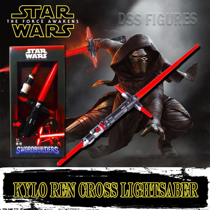Star Wars Kylo Ren Cross light Saber Red Retractable Flashing Light Sound Sword Toys Cosplay Weapons Electric Juguete Props