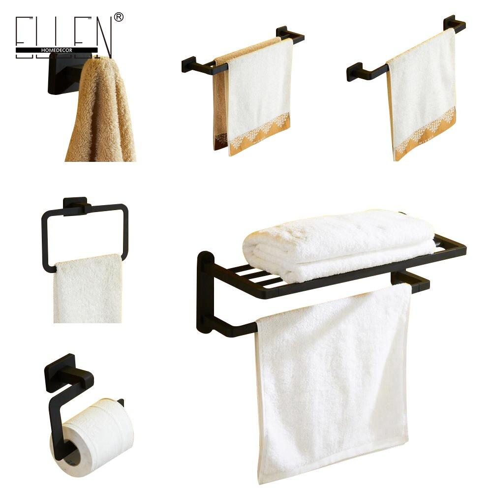 Bathroom and toilet accessories - Luxury Black Rubble Painting Brass Bath Accessories Set Towel Shelf Towel Holder Robe
