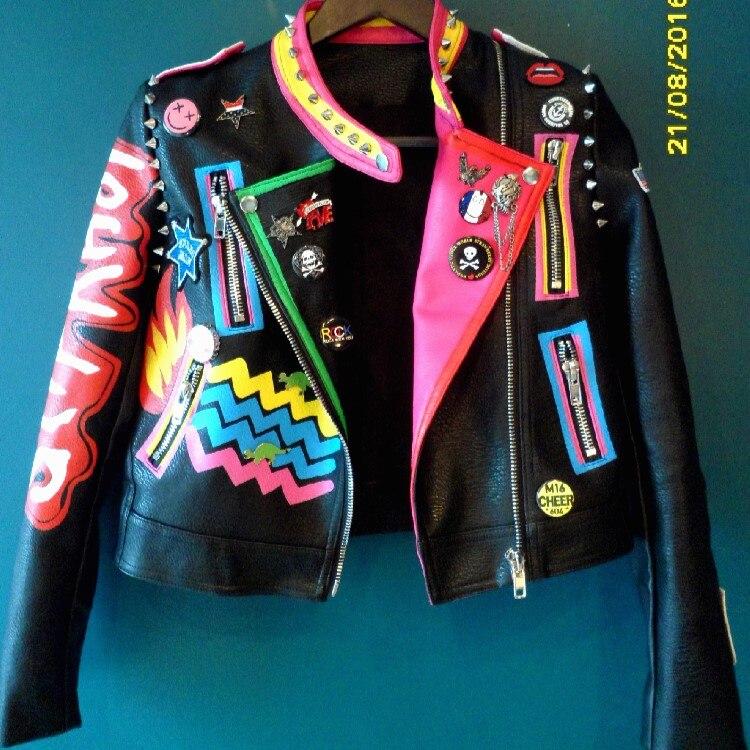 Rue Femmes Metal La Heavy Manches Longues Petite À 1 En Mode Plus Badge Fermeture Taille Noir Punk 2017 Manteau Veste Moto Rivet Cuir Figure Automne Éclair Xwn8vx