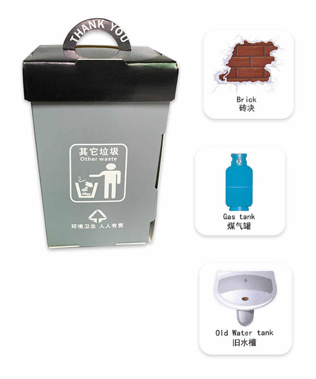 6 adet mini çöp tenekesi Erken Eğitici Oyuncaklar Kağıt Kartı Ile Çocuklar Için Hediye Çöp Sınıflandırma eğitici oyuncak Bulmaca Oyunu