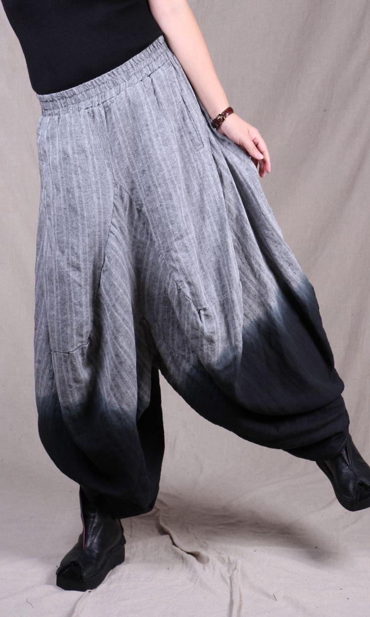 3 Algodón Lino Estilo Mujer Maxi Otoño D82904 Largo Inglaterra Dance De Pantalones Del Hiphop Elástico Cintura 1 Sweatpants Harem 2 Boho R15qqz40w