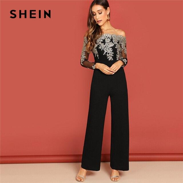 SHEIN Black Elegant Embroidery Sheer Mesh Off Shoulder Workwear Long Sleeve Straight Leg Jumpsuit Autumn Fashion Women Jumpsuits