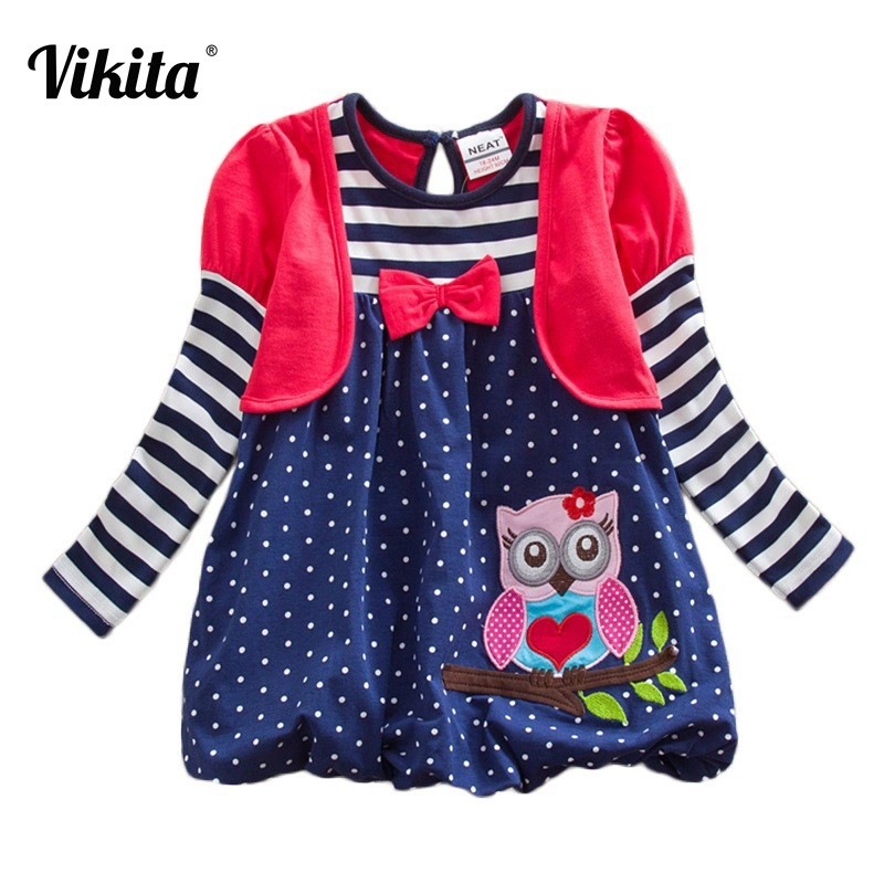 VIKITA Brand Long Sleeve Girls Dress Kid Baby Striped Roupa Infantil Dress 2-8Y Children Clothes Girls Owl Autumn Dresses LG006 raglan sleeve striped ringer dress